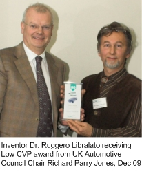 Inventor D. Ruggero Libralato receiving the LOW CVP award from UK Automotive Council Chair Richard Parry Jones